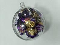 Новогодний прозрачный разъемный шар для конфет
