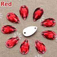 Стразы пришивные Капля 10x18 мм Красный, смола (синтетическое стекло)
