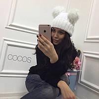 """Стильная женская шапка """" Помпоны """" Yulia"""
