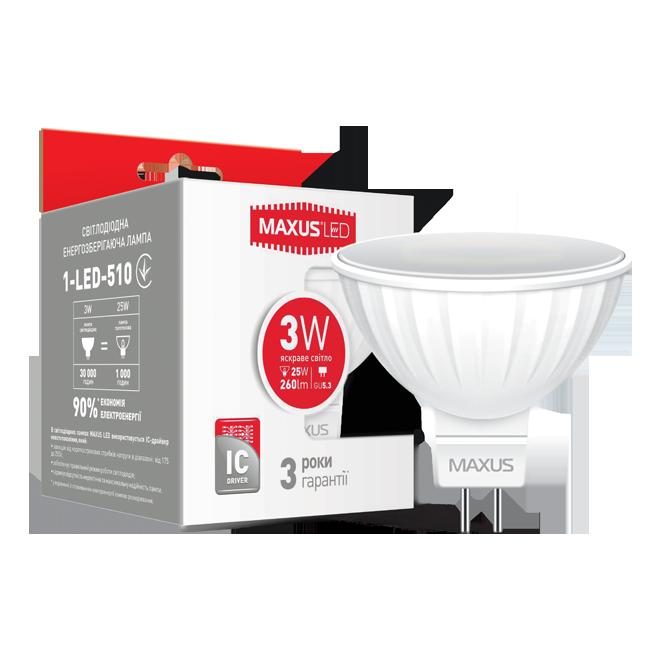 LED лампа MAXUS MR16 3W 4100K 220V GU5.3 (1-LED-510)