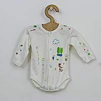 Хлопковое белое боди с длинным рукавом для мальчика р. 62