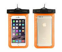 Водонепроницаемый чехол для телефона универсальный Waterproof оранжевый