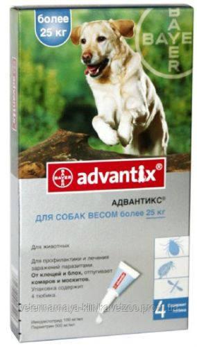Адвантикс для собак больше 25 кг (1 пип.х 4 мл) Bayer (Германия) средство против блох, клещей и комаров.