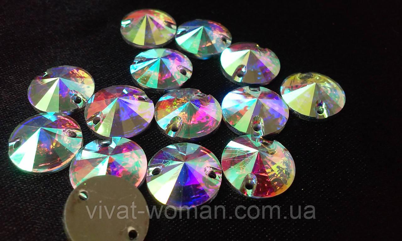Стразы пришивные Круг 10 мм Crystal AB, смола (синтетическое стекло)