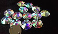 Стразы пришивные Круг 10 мм Crystal AB, смола (синтетическое стекло), фото 1