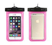 Водонепроникний чохол для телефону Aqualife універсальний рожевий, фото 1
