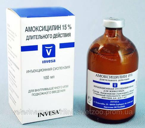 Амоксицилин 15% 10 мл Invesa (Испания) пролонгированный антибиотик широко спектра действия, фото 2
