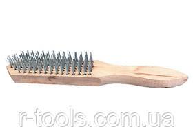 Щетка 3-рядная металлическая с деревянной ручкой SPARTA 748205