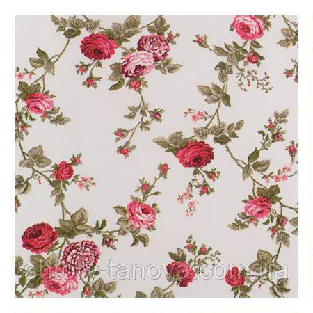 Ткань для штор с розами малиновый
