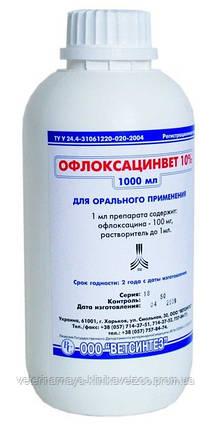 Офлоксацинвет 10% 1 л ветеринарный антибиотик для выпойки птицы цыплят, бройлеров, индюшат, фото 2