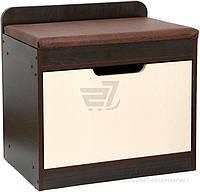 Тумба для обуви венге мягким сидением и выкидным ящиком