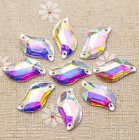 Стразы пришивные листик 10х20 мм Crystal AB, смола (синтетическое стекло), фото 1