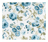 Ткань с розами для штор голубой