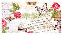 Шторная ткань винтаж с надписями и розами с тефлоновой пропиткой Турция ширина 180 см Ткани на метраж