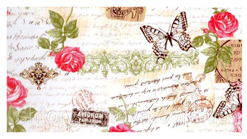 Шторы розы бабочки малиновый - Интернет магазин штор Танова в Днепре