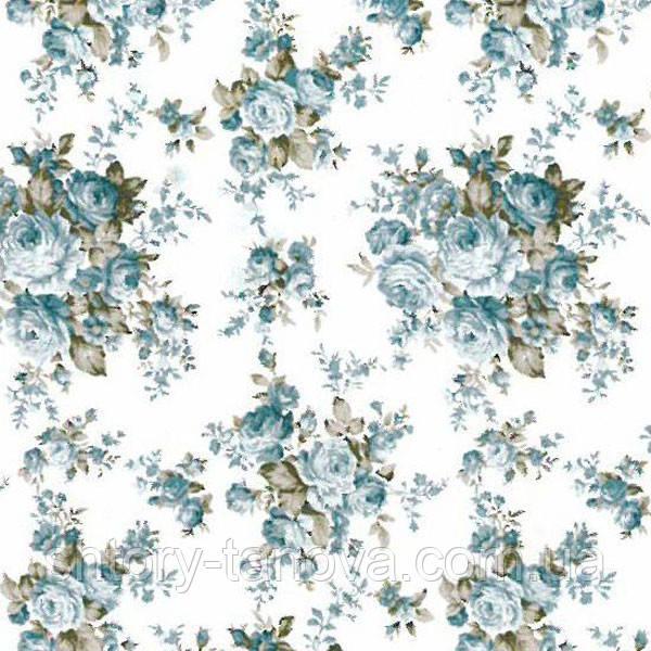 Тканина для штор в стилі прованс троянди блакитний