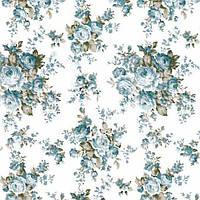 Ткань для штор в стиле прованс розы голубой