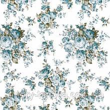 Ткань для штор прованс розы голубая бирюза с тефлоновой пропиткой Турция ширина 180 см Ткани на метраж