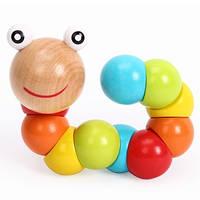 """Игрушка-головоломка для детей """"Весёлая гусеница"""", натуральное дерево"""