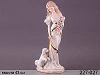 Статуэтка Девушка с собачкой 43 см фарфор