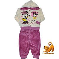 """Комфортный и теплый костюм """"Красотка Минни Маус"""" , велюровый , для девочки от 1-2 лет"""