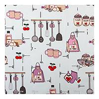 Шторы с кухонным принтом розовый