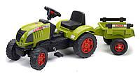 Педальный трактор Claas Ares 657ATZ Falk с прицепом зеленый