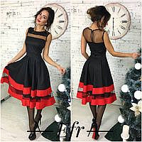 Платье женское чёрное с красным ЕФ-132