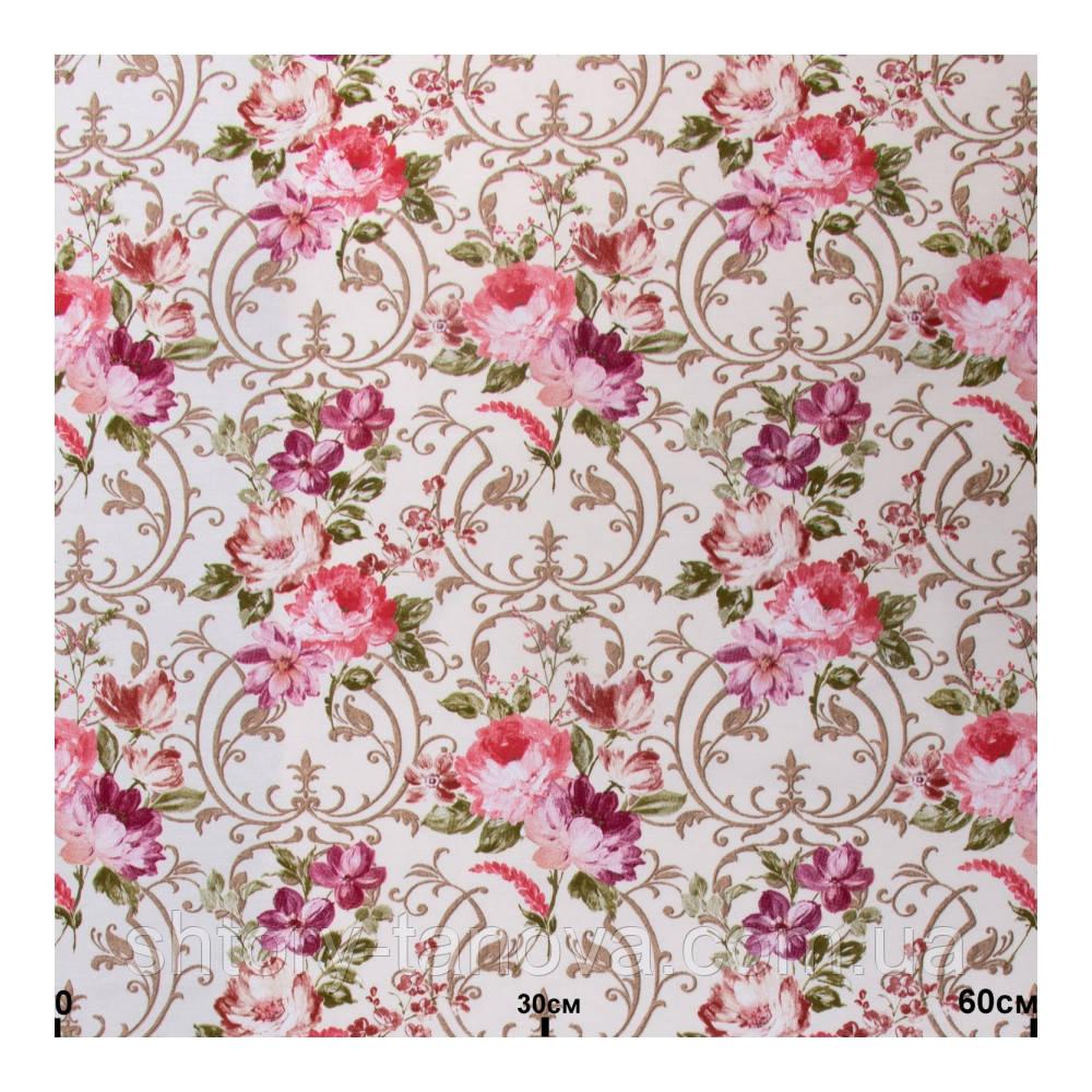 Ткань для штор с цветами розовый