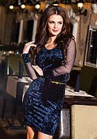 Классное синее  велюровое платье со стразами на карманах, сетка на рукавах. Арт-9195/57