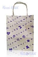 """Пакет с кручеными ручками """"Подарок фиолетовый"""" 230х170х90"""