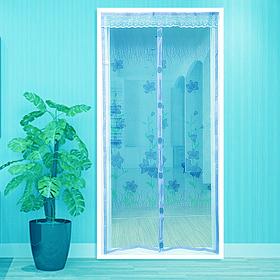 Сетка на магнитах на дверь Ажур голубой