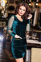 Классное зеленое  велюровое платье со стразами на карманах, сетка на рукавах. Арт-9195/57
