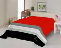 Плед Le Vele полутороспальный ярко красный с черными полосками