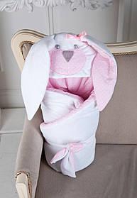 Летний конверт-одеяло на выписку Зайчик розовый