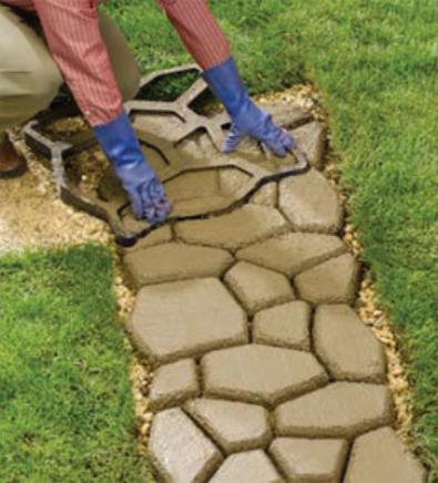 Форма для садовой дорожки 55х55см, круглые камни, форма - трафарет садовых дорожек