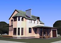 Визуализация готового дома в одном из вариантов исполнения фасада.