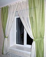 Комплект кухонные шторки с подвязками №17 Цвет оливковый с бежевым