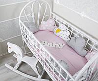 Бортики в кроватку + простынь Тучки Принцессы , 9шт