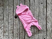 Детский спальник с ушками Мишка розовый, 6-12мес
