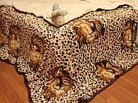 Покрывало плед со львом леопардовый