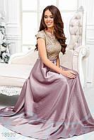 Вечернее атласное платье. Цвет лилово-золотистый.