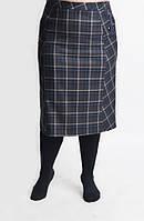 Элегантная женская юбка в клетку из шерстяной ткани 7245