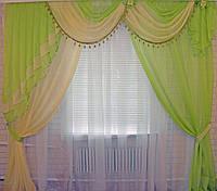 Ламбрекен с шторой 2.5м. №27в салатовый, фото 1