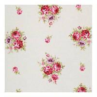Красивая ткань для штор с розами малиновый