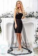 Маленькое бархатное платье. Цвет черный.