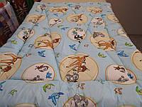 Одеяло стеганое чистая шерсть бязь ранфорс Бемби голубое