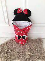 Теплый конверт-одеяло с ушками Микки Маус