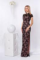 Торжественное вечернее женское красивое платье из гипюра длиной в пол (платье в пол, разные цвета)