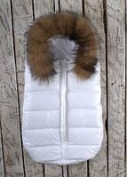 Зимний кокон для новорожденного Дутик Белый